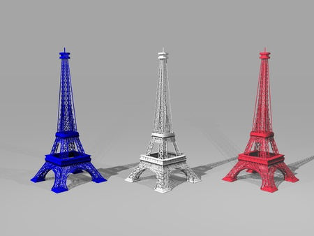 French flag colors on three Eiffel towers in grey background - 3D render photo