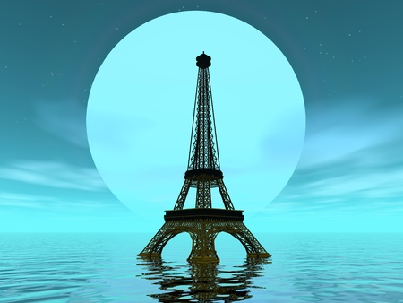 Eiffel tower in front of big moon and upon water by green night photo