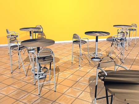 Modern chairs and tables in a yellow room photo