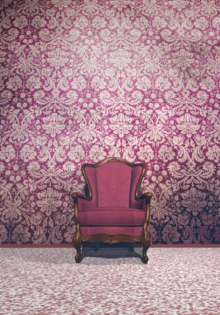 Vintage armchair in retro room with very old wallpaper photo