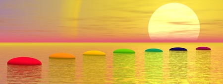 Sept étapes avec des couleurs chakra dessus de l'océan menant au soleil au coucher du soleil