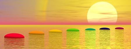 chakra: Sept �tapes avec des couleurs chakra dessus de l'oc�an menant au soleil au coucher du soleil