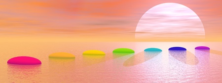 Seven steps with chakra colors over ocean leading to the sun by sunset Stock Photo - 16560122