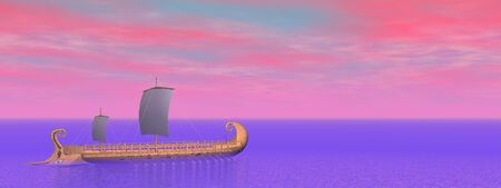trireme: Old greek trireme boat on the ocean by violet and pink sunset sky