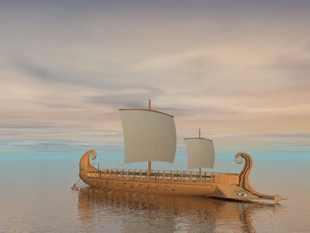 warship: Old greek trireme boat on the ocean by cloudy weather