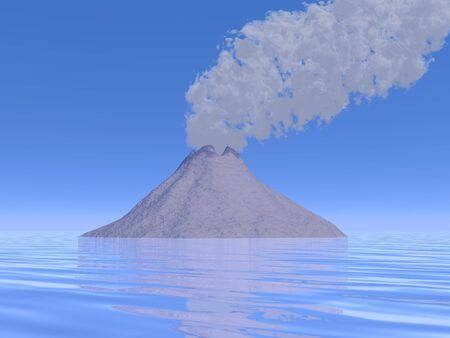 Grey smoke of a volcano island by beautiful day