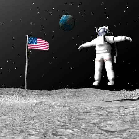 First astronaut on the moon floating next to american flag with earth in the background Stock Photo