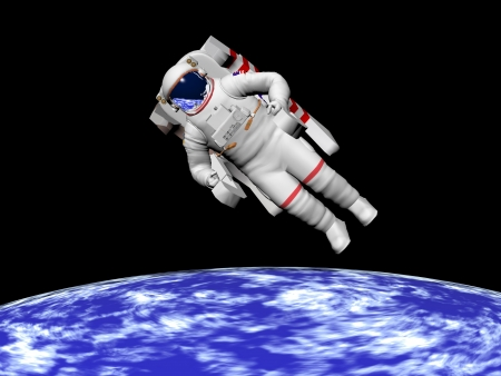 Astronaut floating in black background for space and looking at the earth photo