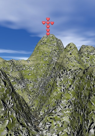 Cross made of red hearts standing upon the mountain photo