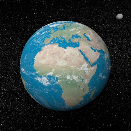 Earth planet and moon in the universe surrounded with plenty of stars Stock Photo - 16801394