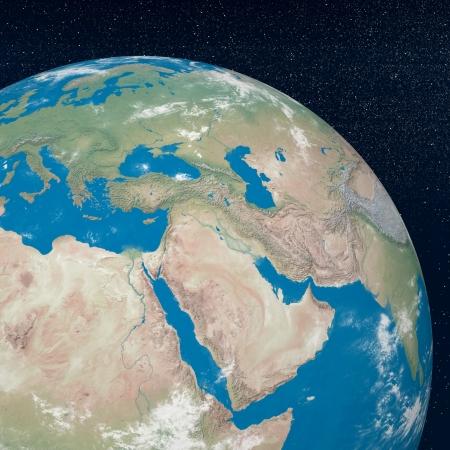 Pianeta Terra mostrando medio oriente regione nell'universo circondato con un sacco di stelle