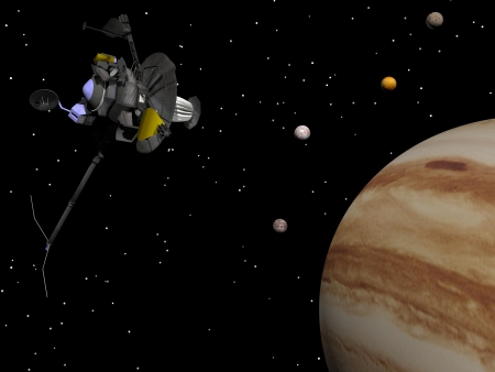 Voyager spacecraft near Jupiter and four of its famous satellites - Io, Europa, Ganymede and Callisto - by night Stock Photo