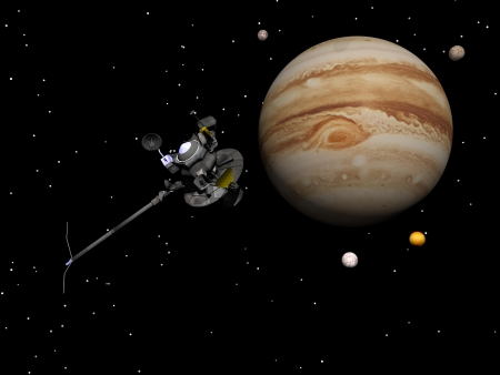 io: Voyager spacecraft near Jupiter and four of its famous satellites - Io, Europa, Ganymede and Callisto - by night Stock Photo