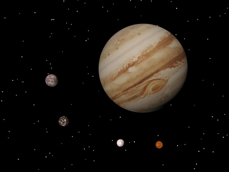 Jupiter with its anticyclonic storm appearing as an eye and four of its famous satellites - Io, Europa, Ganymede and Callisto - by night Stock Photo - 16801250