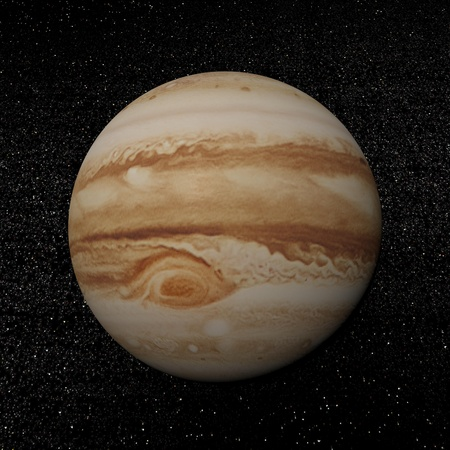 Jupiter planet in the universe surrounded with plenty of stars