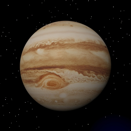 voyager: Jupiter with its anticyclonic storm appearing as an eye by night Stock Photo
