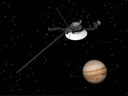 Voyager spacecraft near Jupiter and its unrecognized ring by night Stock Photo