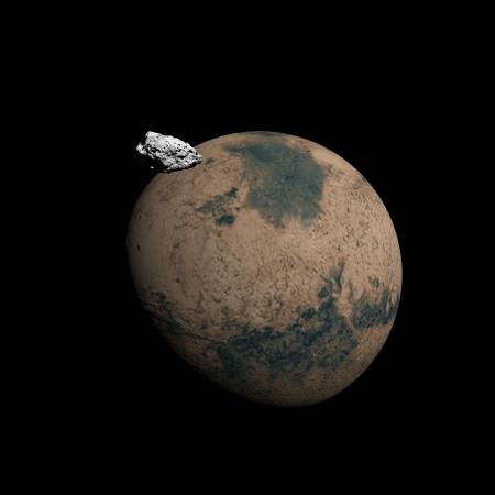 sattelite: Mars planet and its sattelite Deimos in black background Stock Photo