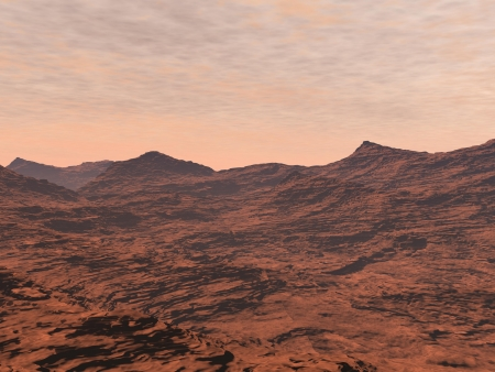 far away: Red desert and clouds to illustrate Mars landscape Stock Photo