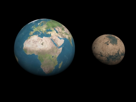 Earth and Mars planets aside to compare sizes in black background Stock Photo - 16801236