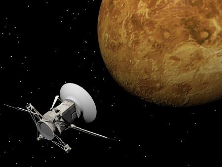 Magellan spacecraft near Venus planet by night Standard-Bild