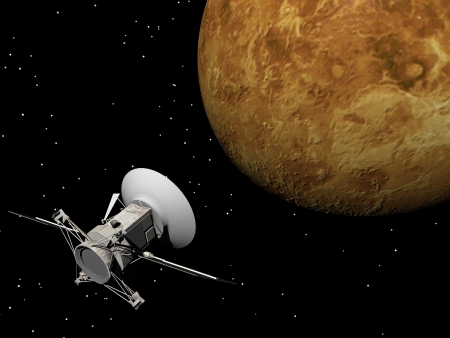 sputnik: Magellan spacecraft near Venus planet by night Stock Photo