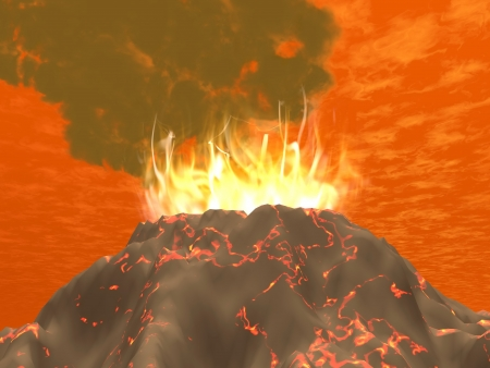 Eruption of a volcano with fire and big smoke in red byckground