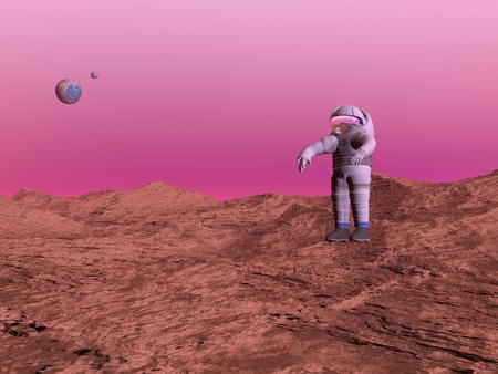 First astronaut walking on Mars planet and seeing the earth and moon in the pink background photo