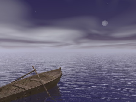 Old brown wood boat with two paddles staying on the quiet water by night photo