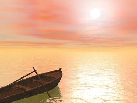 barque: Old brown wood boat with two paddles staying on the quiet water by sunset