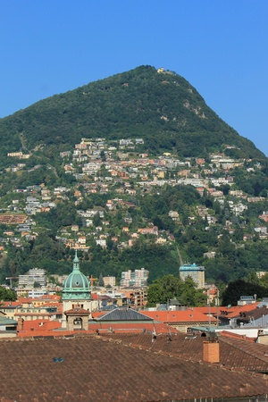 View of Lugano city with alps mountains, Switzerland Stock Photo - 17256696