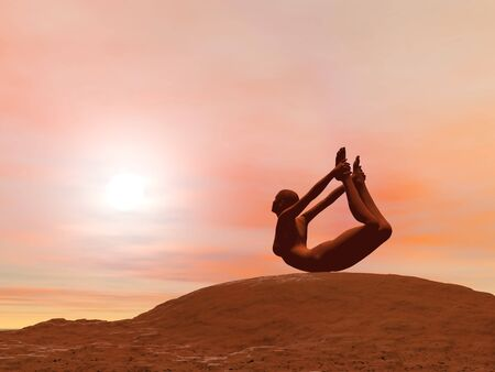 dhanurasana: Young woman doing bow pose, dhanurasana, while practicing yoga outside in front of sunset