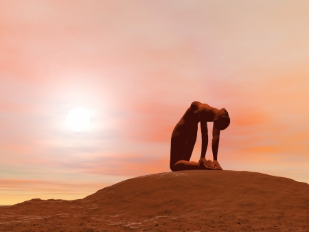 Young woman doing camel pose, ustrasana, while practicing yoga outside in front of sunset photo