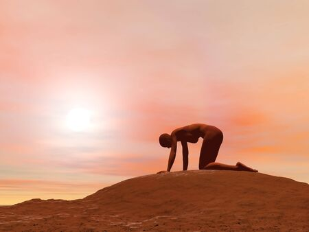 Young woman doing cat pose, viralasana, while practicing yoga outside in front of sunset photo