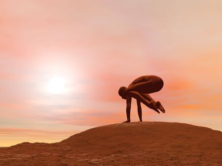 Young woman doing crane pose, kak asana, while practicing yoga outside in front of sunset photo