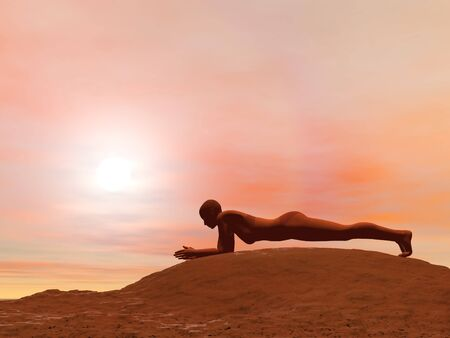 Young woman doing dolphin plank pose, makarasana, while practicing yoga outside in front of sunset photo