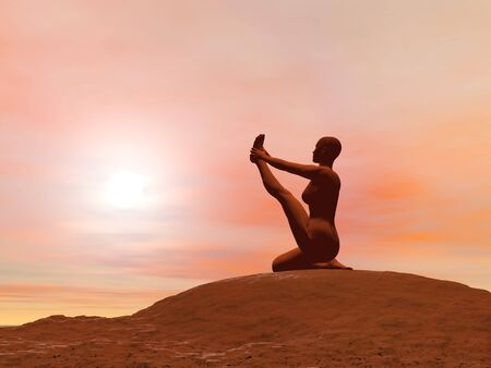 yoga outside: Young woman doing Heron pose, krounchasana, while practicing yoga outside in front of sunset Stock Photo