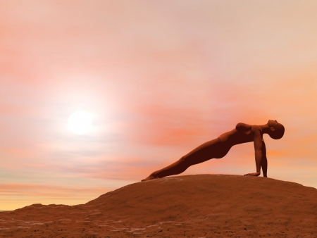 yoga outside: Young woman doing Upward plank pose, purvottanasana, while practicing yoga outside in front of sunset