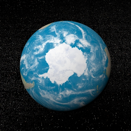Antarctica on earth and universe background with stars - 3D render Stock Photo - 17431383