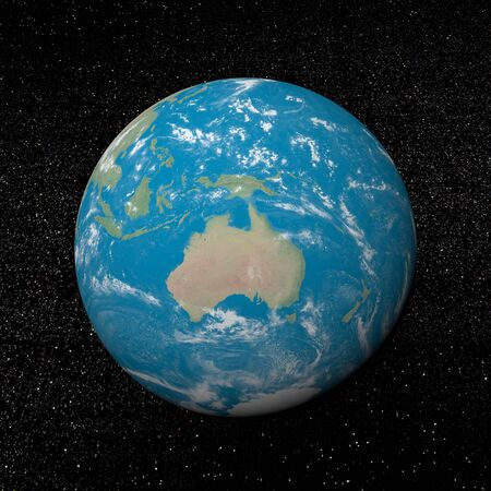 oceania: Oceania on earth and universe background with stars - 3D render