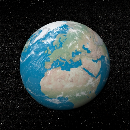 Europe on earth and universe background with stars - 3D render Stock Photo - 17431381