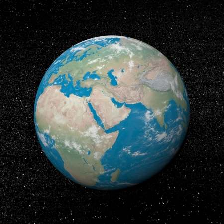 Moyen-Orient sur la terre et l'univers avec des étoiles d'arrière-plan - 3D render