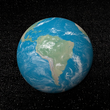 South america on earth and universe background with stars - 3D render Stock Photo - 17431385