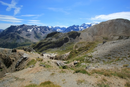 View on the range mountain from the top of Galibier pass by summer, Alps, France photo