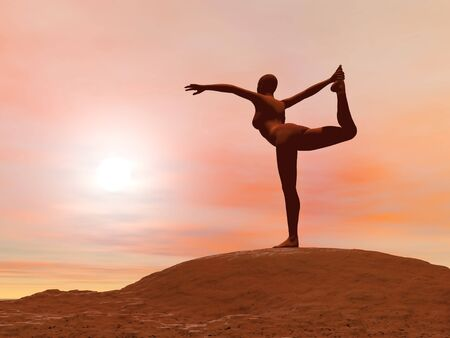 Young woman doing dancer pose, natarajasana while practicing yoga outside in front of sunset photo