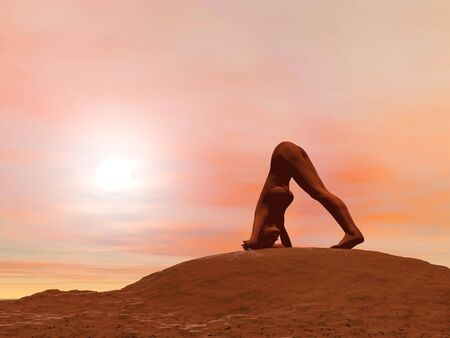 Young woman doing dolphin pose, makarasana while practicing yoga outside in front of sunset photo