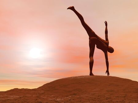 chandrasana: Young woman doing half moon pose, ardha chandrasana while practicing yoga outside in front of sunset