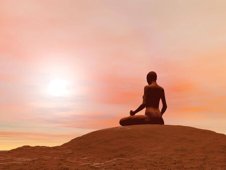 Young woman doing meditation pose, padmasana while practicing yoga outside in front of sunset Stock Photo - 17431329