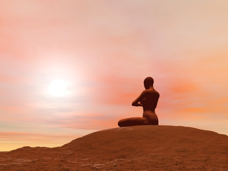 yoga outside: Young woman doing meditation pose, padmasana while practicing yoga outside in front of sunset Stock Photo