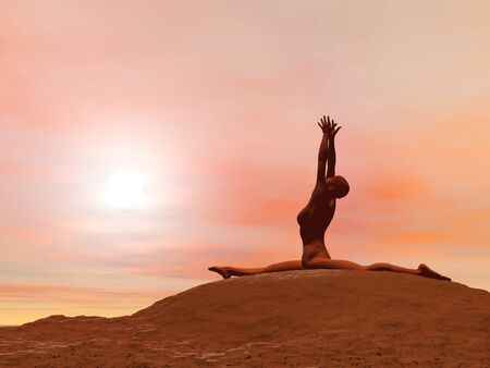 Young woman doing monkey pose, hanumanasana while practicing yoga outside in front of sunset photo